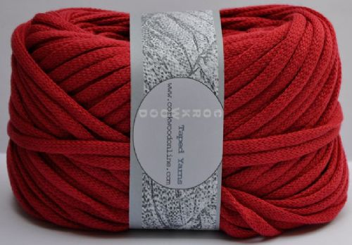 Cherry red cotton Chunky Tape yarn 100g ball